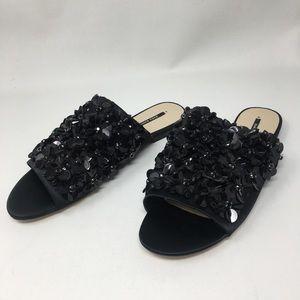 Zara Basic Black Floral Sequin Sandal Slides